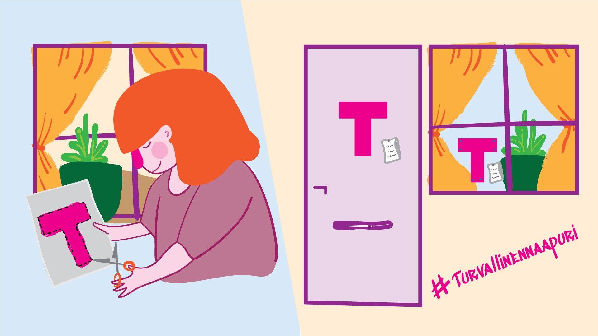 Piirroskuva: Vasemmalla kuva naisestra, joka leikkaa saksilla pahvista isoa T-kirjainta. Oikealla on sekä ovessa että ikkunassa samainen T-kirjain.