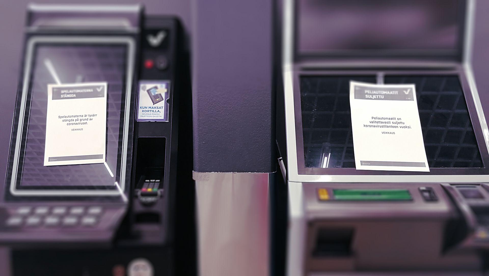 Sulejttuja rahapeliautomaatteja maaliskuussa 2020.