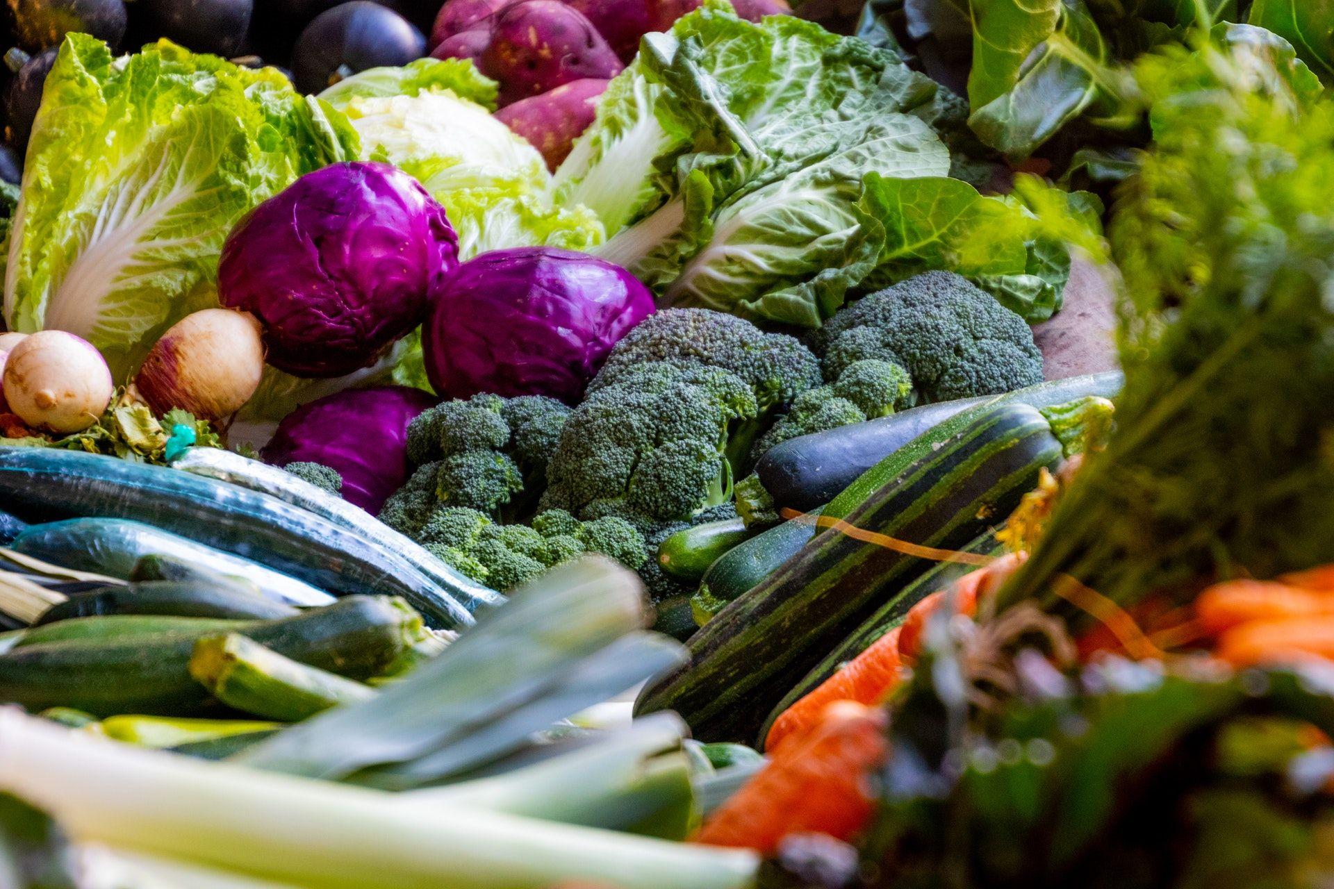 Erilaisia ja erivärisiä vihanneksia kasassa: parsakallia, purjoa, punakaalia, sipulia, salaattia, porkkana, kurkkua...