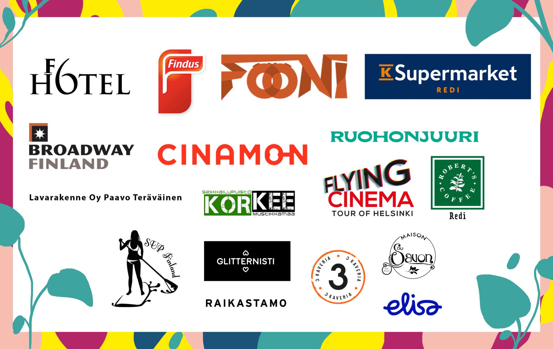 Kuva, johon on koottu kaikkien Selvä kesä -tapahtuman sponsorien logot.