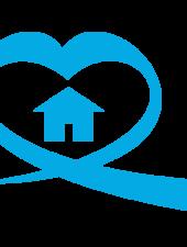 Sininauhasäätiö kuvake, sydämen muotoinen nauha, jonka sisällä on sininen talo.