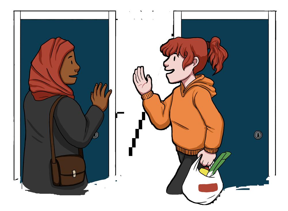 Piirustus, punaiseen huiviin ja tummaan kaapuun pukeutunut nainen tervehtii punapäistä naapuriaan rappukäytävässä.