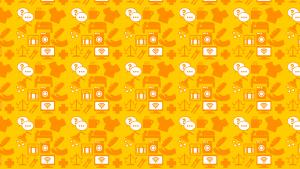 Palveluikoineista koostuva oranssi tausta.