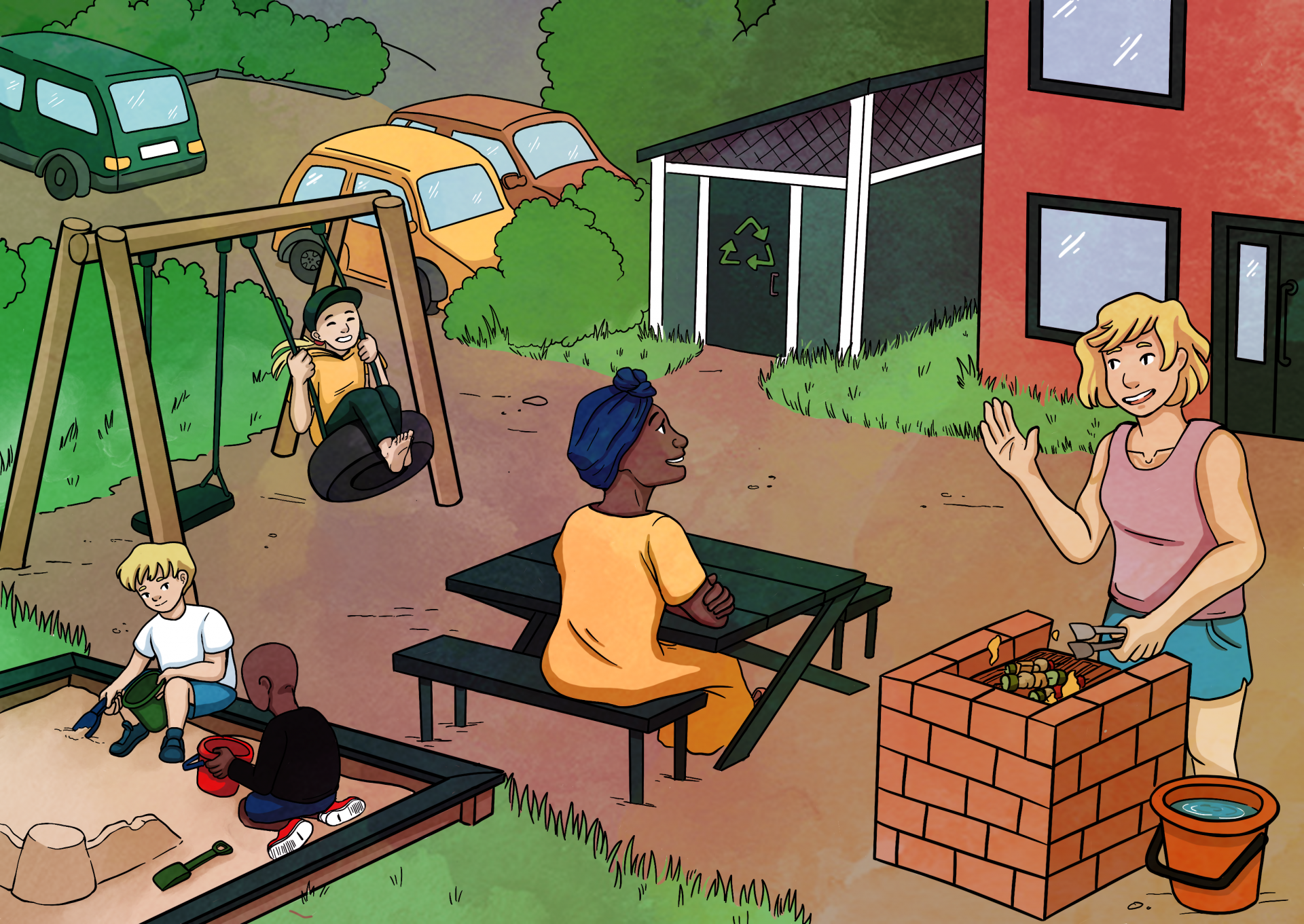 Kodin kansion kuva pihapiiristä, jossa on leikkiviä lapsia sekä ruokaa laittavia aikuisia.