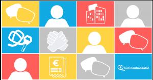 Sininauhasäätiön logo ja värikästä grafiikkaa