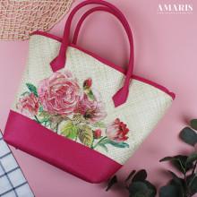 Amaris Handbags - Tas Anyaman - Motif Rose Pink - Besar