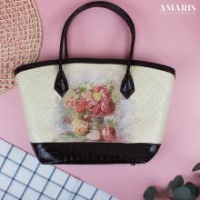 Amaris Handbags - Tas Anyaman - Motif Rose Coklat - Besar