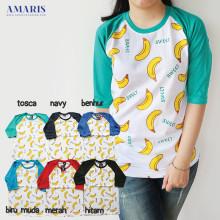 Baseball Tshirt Banana Sweet  - Kaos Raglan Banana Sweet ukuran M L
