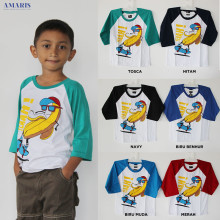 Baseball Tshirt BANANA - Kaos Raglan Banana Anak ukuran M s/d XL anak