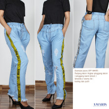 Jeans Ripped Off White - Celana Jeans Sobek Rawis - Amaris
