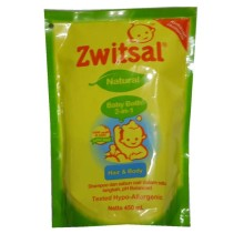 Zwitsal Natural Baby bath 2-in-1 Hair & Body refill pouch 450 ml