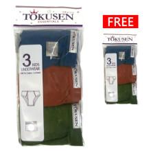 Tokusen Buy 1 Get 1 Free Celana Dalam Warna [Isi 3pcs Gratis 3pcs]