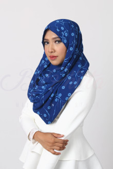 Floral Royal Blue Orchid Hijab