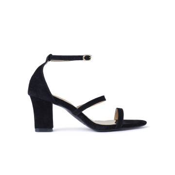 Miley Black Three Straps Block Heels