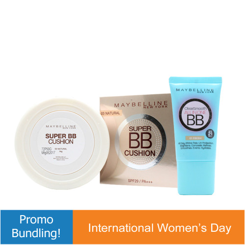 Bundling Maybeline BB Cushion 03 Natural + Maybeline Clear Smooth All in One BB 01 Fresh