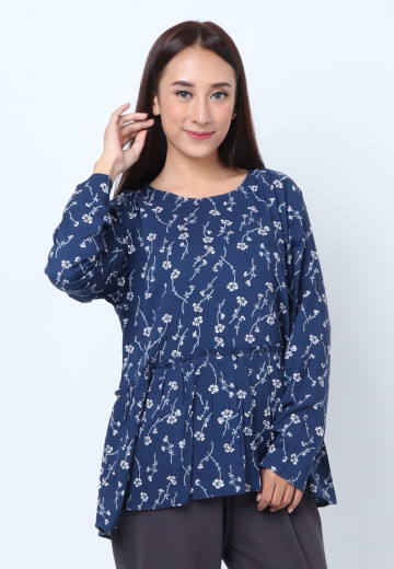 GEE EIGHT NAVY FLORAL BLOUSE (T3250)