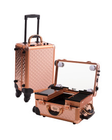 Mini Travelling Makeup Case in Rose Gold Diamond