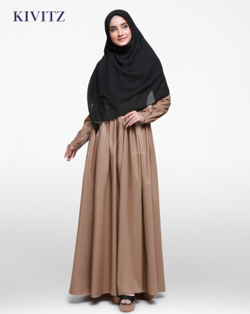 BASIC A-LINE DRESS (Brown) image