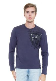 Slim Fit - Kaos Casual - Biru - Lengan Panjang - Logo