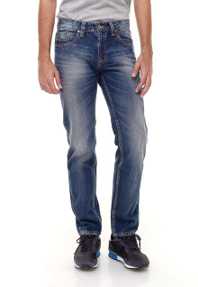 Slim Fit - Jeans Panjang - Whisker Detail - Biru