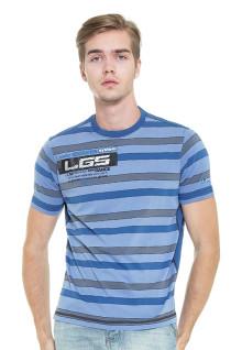 LGS - Slim Fit - Kaos Fashion - Motif Garis - Biru