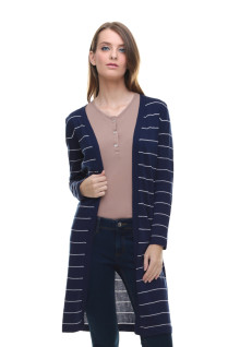 Sweater Wanita - Model Dress - Motif Salur - Biru