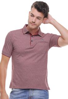 Regular Fit - Kaos Polo Casual - Motif Kotak Halus - Merah