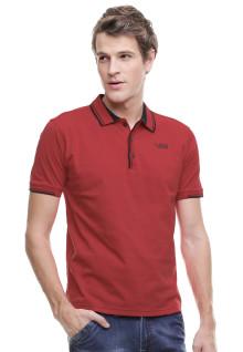 Slim Fit - Kaos Polo - Kerah Tempel - Merah