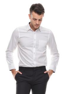 Slim Fit - Kemeja Formal - Lengan Panjang - Kantong Satu - Putih