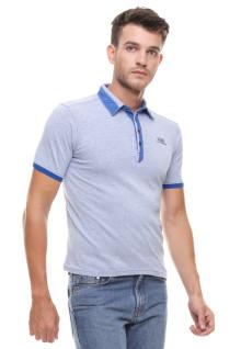 Slim Fit - Kaos Polo - Kerah Biru - Biru