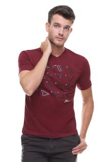 Slim Fit - Kaos Casual Active - Vneck - Sablon - Merah