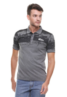 Slim Fit - Kaos Polo - Motif Sablon - Logo LGS - Abu