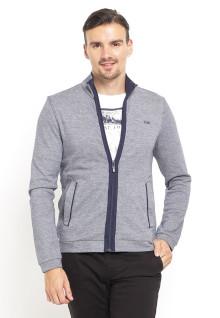 Sweater Pria - Full Zipper - Double Pocket - Abu