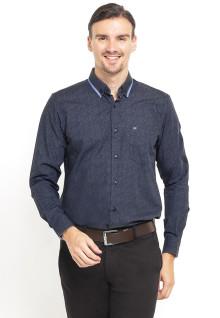 Slim Fit - Kemeja Formal - Stripe Collar - Abu