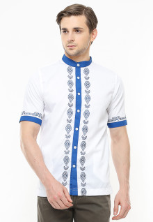 Slim Fit - Baju Koko Active - Aksen Ring Biru - Putih