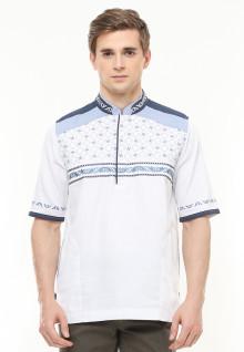 Regular Fit - Baju Koko - Motif Placket - Bordir Biru - Putih