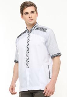Regular Fit - Baju Koko - Motif Bordir Abu - Putih