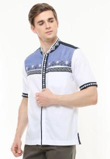 Slim Fit - Baju Koko - Motif Placket - Variasi Warna - Putih