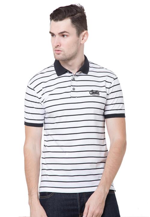 Osella Man Polo Shirt Man Stripe White - Black