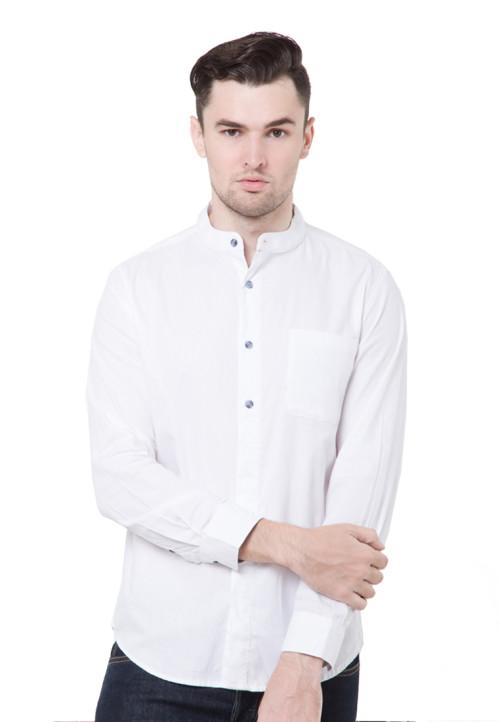 Arnett SHIRT LONG WHITE DOBBY SALUR BIRU White