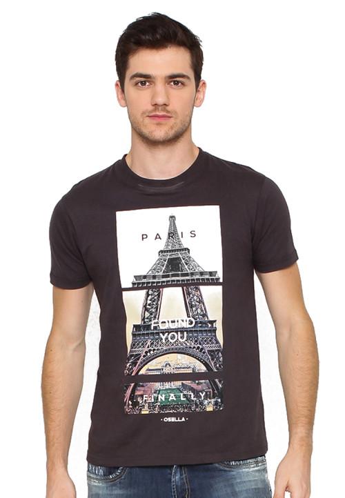 Osella Man T-Shirt Print Paris Finally Found U Grey
