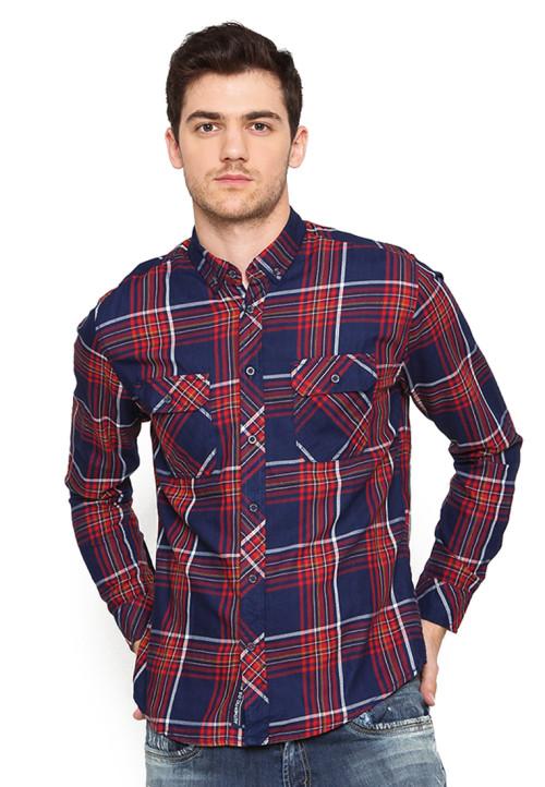 Osella Man Shirt Long Sleeve Denim Aveo Navy Red