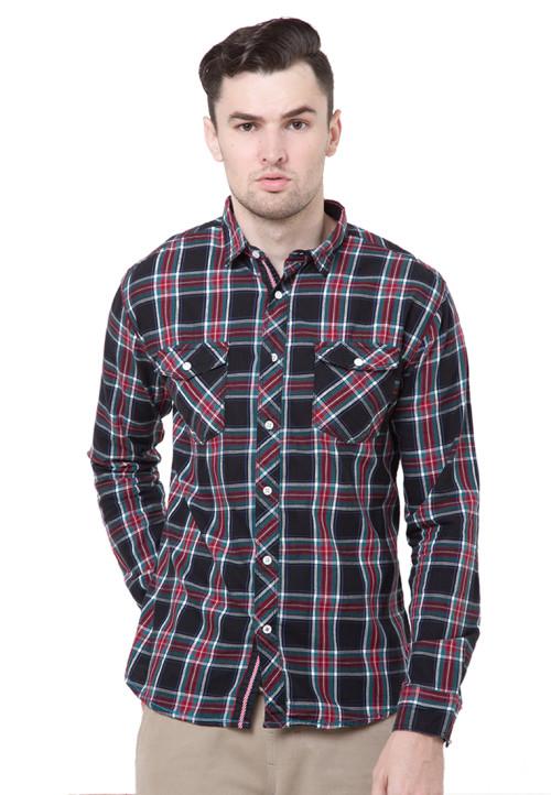 Osella Man Shirt Long Sleev Twill Flanel R.Black