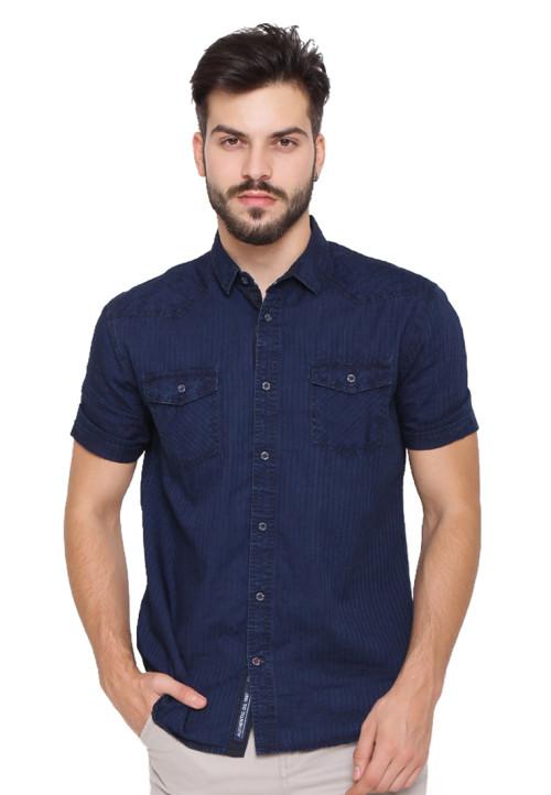 Osella Man Shirt Long Sleev Dobby Seerncker Navy