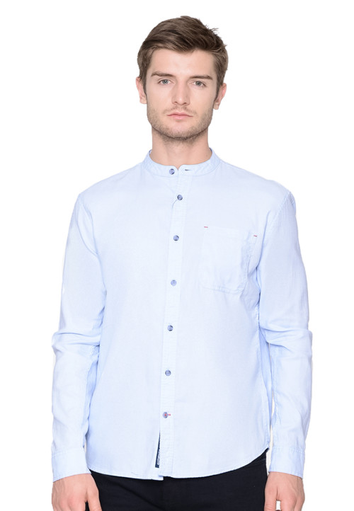 Osella Man Shirt Long Y/D Blue Pique koko Blue