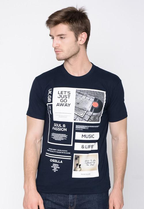 Osella Man T-Shirt Print Lets Just Go Away Navy