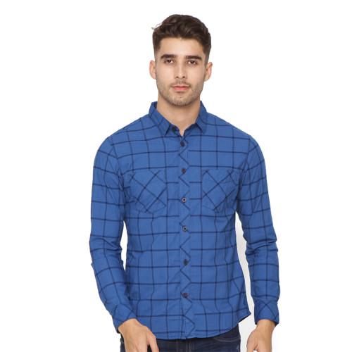Osella Man Long sleeve shirt ctn denim check Blue