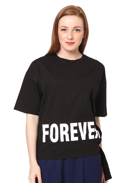 Osella Woman short sleeve tshirt print FOREVER Black