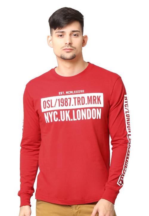 Osella Man T-Shirt Single Jersey 30S Print Osl/1987.Trd.Mrk Nyc.Uk.London Red Red