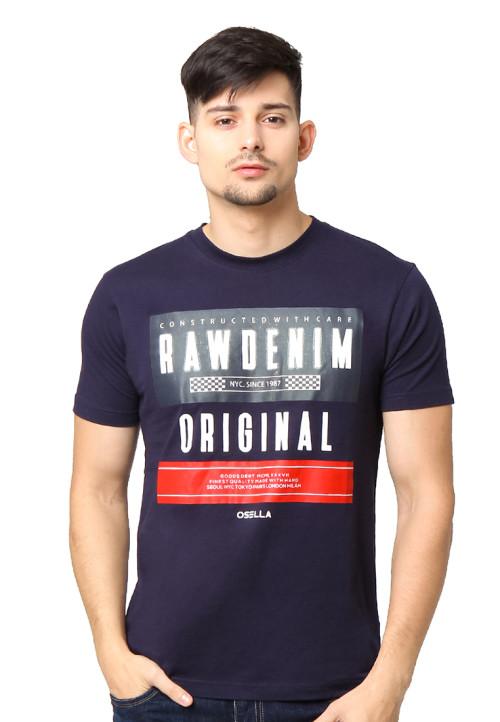 Osella Man T-Shirt Single Jersey Print Rawdenim Original Black Indigo